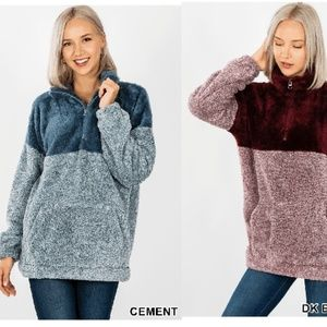 NEW BLUE FAUX FUR SHERPA PULL OVER TOP SWEATER